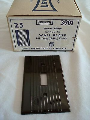 25 Bakelite Single Gang Brown Ribbed Toggle Wall Plate Leviton New Old Stock