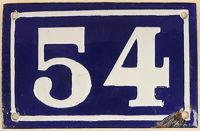 Old blue French house number 54 door gate plate plaque enamel metal sign c1950