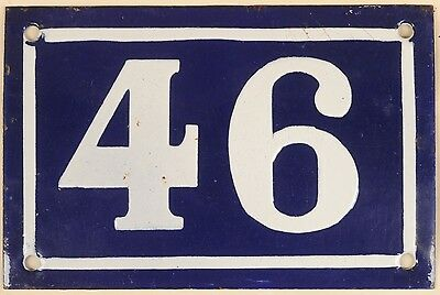 Old blue French house number 46 door gate plate plaque enamel metal sign c1950