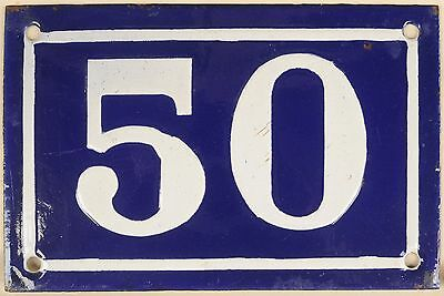 Old blue French house number 50 door gate plate plaque enamel metal sign c1950