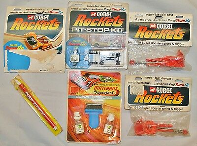 Vintage CORGI ROCKETS Accessories - Tune-Up/Pit-Stop Kits, Rocket Lube, Boosters