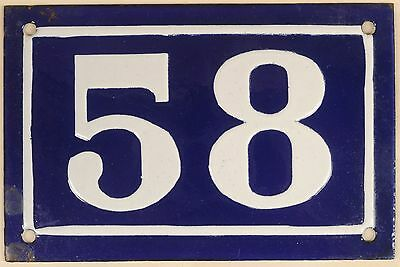 Old blue French house number 58 door gate plate plaque enamel metal sign c1950