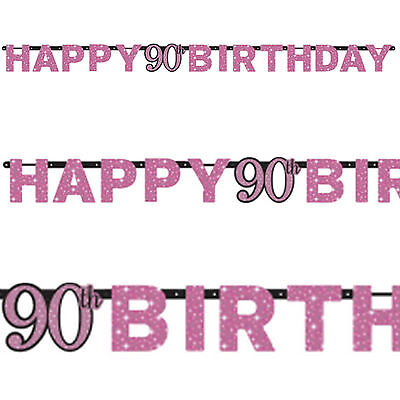 2.13m Pink Sparkle Celebration 90th Birthday Party Letter Banner Decoration