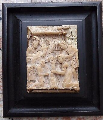 Flemish antique alabaster plaque late 16th century malines adoration of the magi