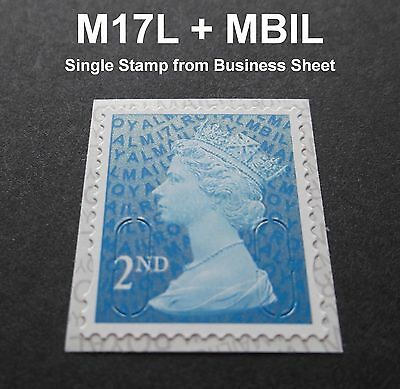 2017 2nd Class M17L + MBIL MACHIN SINGLE STAMP from Business Sheets
