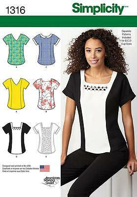 Simplicity SEWING PATTERN 1316 Misses Top 6-14 or 14-22