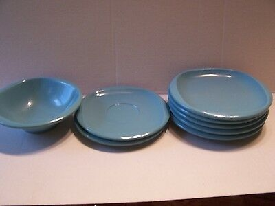 BOONTONWARE Turquoise Blue 5 PLATES 2 Saucers Bowl Lot Melmac Melamine Boonton