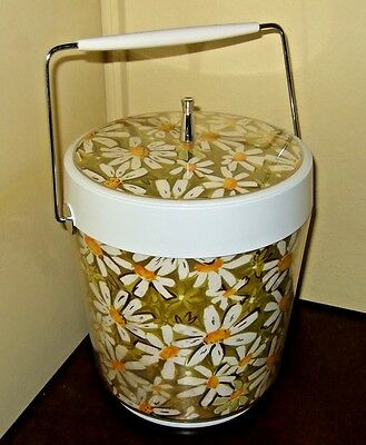 Vintage 1960's West Bend Yellow Sunflower Decorated Ice Bucket rare!
