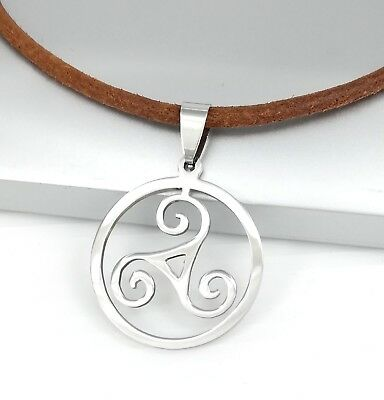 Silver Triskelion Triskele Spiral Celtic Pendant 3mm Brown Leather Necklace Cord