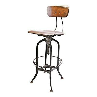 Vintage TOLEDO INDUSTRIAL DRAFTING STOOL chair factory swivel loft UHL plywood