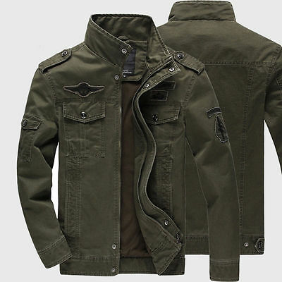 Mens Air Force Military Casual Jackets Stand Collar Tops Tactical Coat Outwears