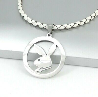 Silver Playboy Bunny Rabbit Stainless Steel Pendant 3mm White Leather Necklace
