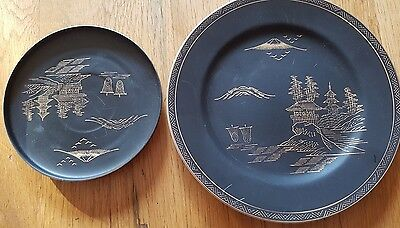 Black & Gold - Asian - Japanese - Chinese Dinner Set 6 X Plates 6 X Side Plates