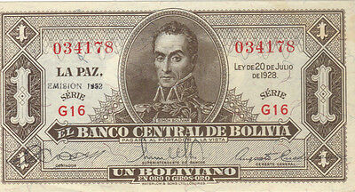 1928 1 Boliviano Bolivia Currency Unc Banknote Note Money Bank Bill Cash One Un
