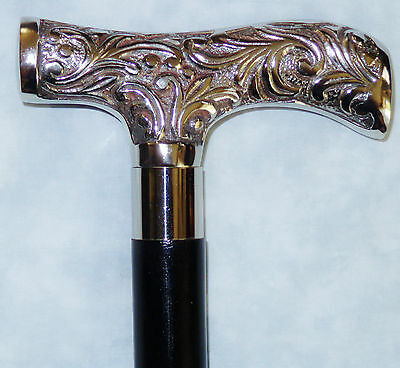New VICTORIAN DERBY WALKING CANE STICK SILVER NICKLE  HANDLE  36.5 ""