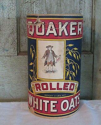 OLD Paper Quaker Rolled White Oats Round carboard Empty Kitchen Container NICE