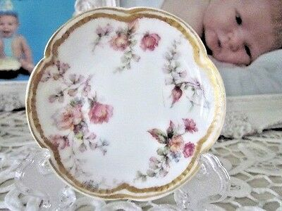 sweet antique haviland limoges  PINK  floral  double gold butter pat w/stand