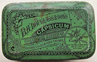 Early B H DOUGLASS & SONS CAPSICUM COUGH DROPS  Flat Pocket Tin Made by Ginna