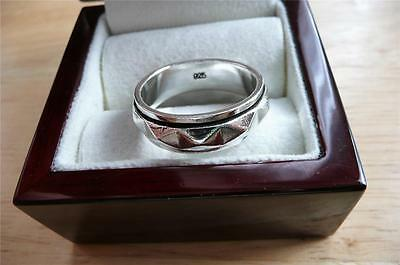 925 Sterling Silver Shiny Spinner Mens Thumb Pyramid Style Band Ring Sz Z Us 13