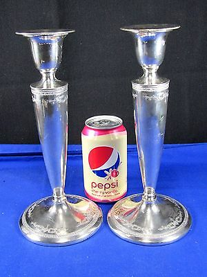 2 Louisiana Homan Nickel-Silver Plate Candlestick/Candle Stick Holders Victorian