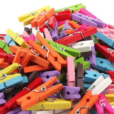 50x Mix Wooden Mini Pegs Craft Photo Hanging Spring Clips 2.5cm Clothespins