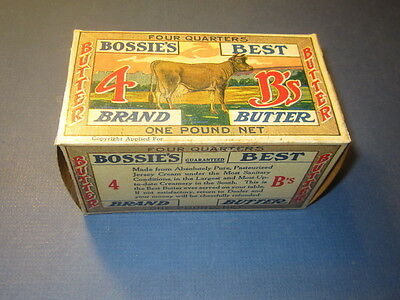 Old Vintage 1920's - BOSSIE'S BEST - BUTTER BOX - Aberdeen Creamery Co. - COW