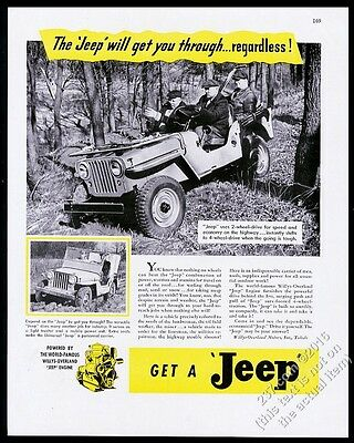 1946 Willys Jeep CJ2A Universal forest workers deep mud photo vintage print ad