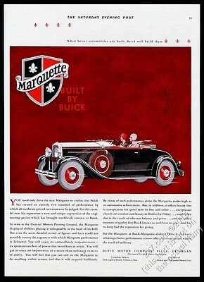 1929 Buick Marquertte roadster convertible car vintage print ad