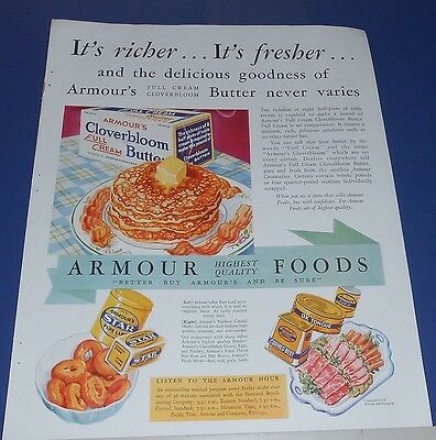1932 Armour's Cloverbloom full cream Butter Ad ~ vintage kitchen food