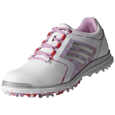 Adidas Adistar Tour Womens Spiked Golf Shoes - White / Silver / Wild Orchid