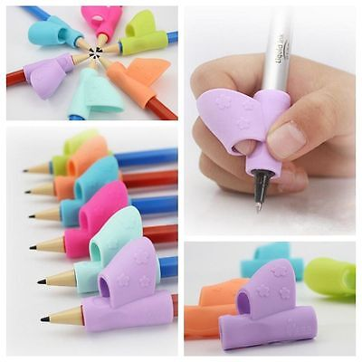 Children Kids Silicone Writing Aid Grip Posture Correction 3x Pen Pencil Holder