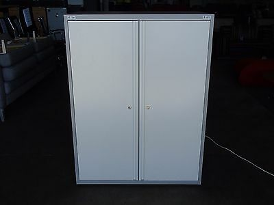 Office Stationary Cabinet w/ Adjustable Shelves White/Grey Metal w/Key 30234