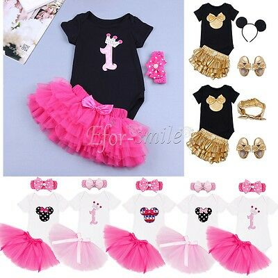 Newborn Toddler Baby1St Birthday Minnie Mouse Romper Tutu Dress Headband Outfits