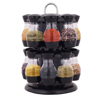 16 Jar Rotating Spice Rack Carousel Kitchen Storage Holder Revolving Herbs Stand