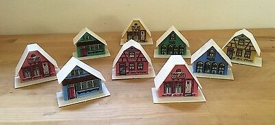 Vintage Alpine Village Hard Plastic Christmas Houses - Set of 9