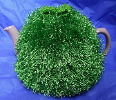 Funky fluffy tea cosy hand knitted in Wales GREEN please see size guide for fit