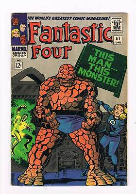 Fantastic Four # 51 This Man-This Monster ! grade 4.0 scarce book !!