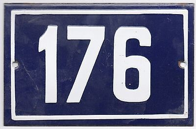 Old blue French house number 176 door gate plate plaque enamel metal sign steel