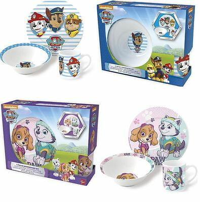Paw Patrol Childrens Ceramic 3 Piece Dinner Breakfast Set Kids Plate Bowl Mug