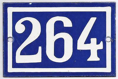 Old blue French house number 264 door gate plate plaque enamel steel metal sign