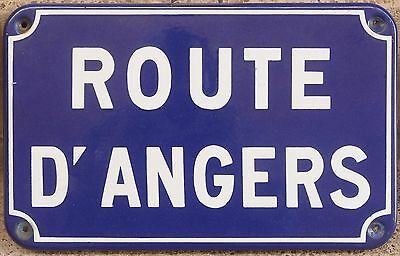 Old French enamel steel street sign road name plaque plate route Angers Loire