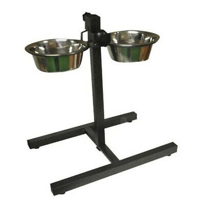 Twin Stainless Steel Pet Dog Food Water Bowls set with Adjustable Height Stand