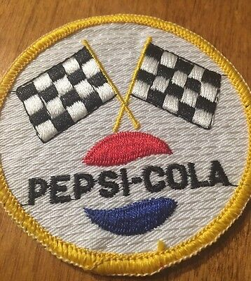 Vintage Pepsi Cola Racing Flags Round Patch