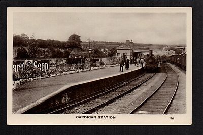 Cardigan Railway Station - real photographic postcard