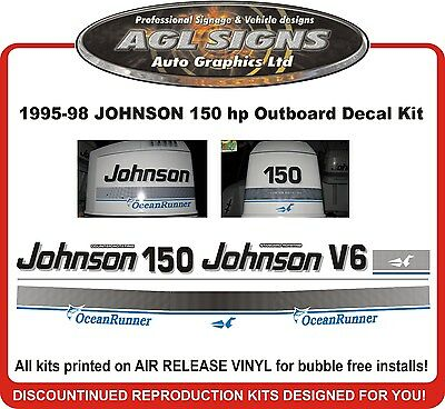 1995 - 98 Johnson 150 Ocean Runner Decal Kit Reproduction 120 140 175 Hp