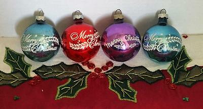 4-Vintage Shiny Brite 'merry Christmas' Tree Ornaments, Blue, Purple, Red