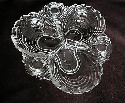 Cambridge Elegant Clear Glass 3 Section Candy Nut Relish Dish Caprice Pattern