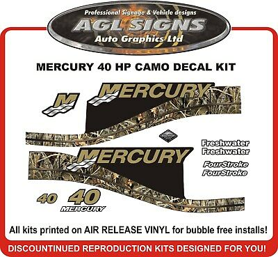 1999 - 2004  MERCURY Camo 40 HP  Outboard Decal kit  reproductions  50 HP