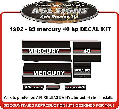 1992 1993 1994 1995  MERCURY 40 HP Outboard Decal kit reproductions oil injected
