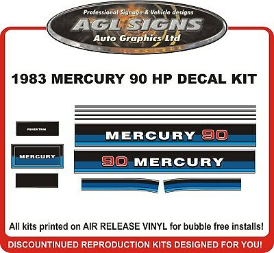 1987 1988 1989 MERCURY 70 hp Outboard Decal Set reproductions   80  90 HP